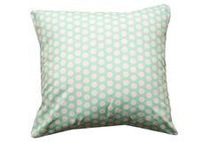 Ella Polka Dots 20x20 Pillow, Mint  Divine Designs