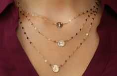 Initial Necklace, Engraved Initial Necklace, 14kt gold filled or Sterling Silver- Your Choice 1,2, or 3 Strands