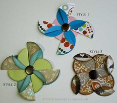 pinwheel flower tutorial- cute!! #scrapbooking #tutorial @Tracy Stewart Palmer reminds me of your logo sort of
