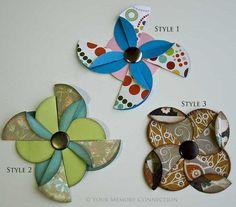 pinwheel flower tutorial- cute!! #scrapbooking #tutorial @Tracy Stewart Palmer reminds me of your logo sort of