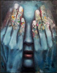 Mihail Korubin-Miho aka Mihail Korubin (Macedonian, b. Skopje, Macedonia) - It Is Over, 2012 Paintings: Oil on Canvas Macedonia, Teal Paint Colors, Modern Art Movements, See No Evil, Disney And More, Human Art, Red Lipsticks, Artist Painting, Art Oil