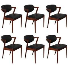 Kai Kristiansen Model 42 Teak Z Chairs Set of Six