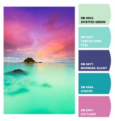 Cool saturated tropical green blue magenta fuchsia purple sunset color colour colore farbe palette repinned by #vividfiberarts