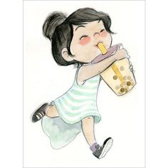Cartoon Drawings Boba Girl Print by Los Angeles based artist Genevieve Santos. - Based on an original watercolor painting. - Print measures x - Character Illustration, Illustration Art, Food Illustrations, Character Inspiration, Character Art, Character Aesthetic, Ouvrages D'art, Wow Art, Cute Drawings