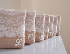 Monogrammed+burlap+clutch+with+large+lace.+by+VixDesignStudio,+$29.00