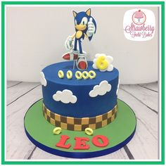 Blue Sonic cake with edible print sonic - Birthday Sonic Birthday Cake, Sonic Birthday Parties, Birthday Ideas, 5th Birthday, Bolo Sonic, Sonic Cake, Sonic Party, Sonic Kuchen, Sonic The Hedgehog Cake