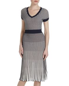 Biella Striped V-Neck Dress by BCBGMAXAZRIA at Last Call by Neiman Marcus.