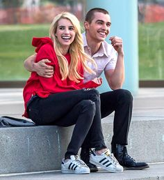 Emma Roberts and Dave Franco shared a laugh on the set of their movie Nerve in Brooklyn, N.Y., on April 30.