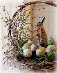 E for Easter Basket, Eggs, Bunny and Flowers The Fancy Shack