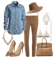 #look combinado con camisa de jean! Un básico que no te puede faltar en el placard! <3 <3 #pants #jean #bag #fashion #stilettos www.yoamoloszapatos.com | Yo Amo los Zapatos
