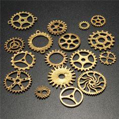 17pcs Steampunk Cyberpunk Cogs Gears Parts DIY Craft Decorations