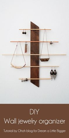 DIY wall jewelry organizer angle the bottom forward so the items hang down in b. - DIY wall jewelry organizer angle the bottom forward so the items hang down in back and don't int - Diy Jewelry Hanger, Jewelry Holder Wall, Diy Jewelry Unique, Diy Jewelry To Sell, Necklace Storage, Jewelry Organizer Wall, Jewellery Storage, Jewellery Display, Earring Holders