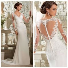 Lace full length sleeve with chiffon skirt and lace illusion back!