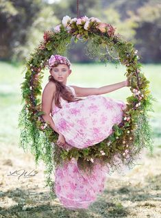Floral swing photography vintage fashion dress tween child model photography couture