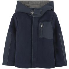Woollen cloth Laminated jersey fabric Jersey lining Quilted padding Non-detachable hood Long sleeves Outside pockets Zipper on the front Zip pockets Logo sliders - $ 207
