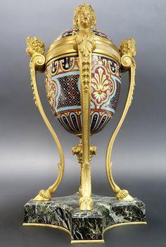 19th C. French Champleve Enamel & Bronze Figural Vase : Lot 0355