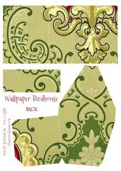 Wings of Whimsy: Wallpaper Birdhouse No 27 Back #vintage #ephemera #freebie #printable #wallpaper #bird #house