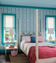 Girl's bedroom - four poster bed - wallpaper - turquoise and coral - House of Turquoise: Andrew Howard Interior Design House Of Turquoise, Bedroom Turquoise, Girls Bedroom, Pink Bedrooms, Bedroom Decor, Bedroom Wall, Blue Bedroom, Trim Paint Color, Interior Design