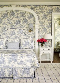 Bedroom wallpaper, headboard, bedding