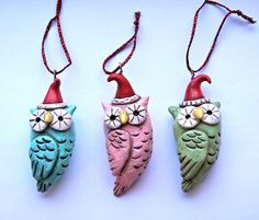 Pink Winter Owl Christmas Ornament polymer by indigotwinholiday, $8.00
