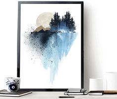 Excited to share the latest addition to my #etsy shop: Blue mountain wall art, art print, watercolor poster, nature print, modern blue print, home wall decor, apartment wall art, poster, gift