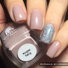 Nude Nails with Silver Sparkle Accent Nail