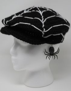 The latest free crochet pattern available from Hooked by Kati is the Spider Web Newsboy Hat, also available on Etsy and Ravelry in printable . Crochet Pour Halloween, Halloween Crochet Patterns, Back Stitch Embroidery, Simple Embroidery, Half Double Crochet, Single Crochet, All Free Crochet, Crochet Hats, Crochet Clothes