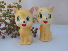 Vintage Retro Cat Salt and Pepper Shakers- Collectible Ceramic Home Decor Accessory- Kitty Figurine Cute Gift for Home -. $8.49, via Etsy.