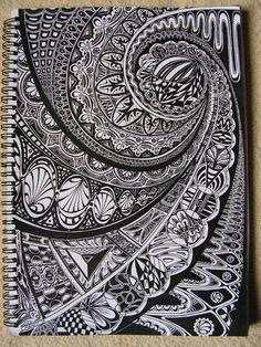 great handmade card ... black cardstock ... white doodling ...