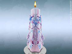 Geschnitzte Festliche Kerze.20 cm. (von Lenz Kerzen)