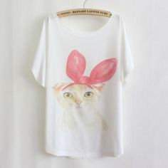 Women-Girl-Loose-Batwing-Sleeves-Printed-T-shirt-Casual-Tops-Blouses-T-Shirts