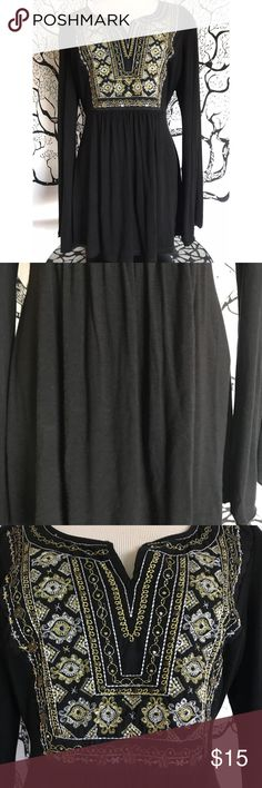 INC Embroidered Front Panel Boho Black Blouse Sz L Please see pictures for description. Thank you! Also please note this is a Large on a small/medium mannequin-fit may vary! INC Tops Blouses