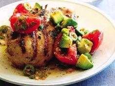 Grilled Cilantro Chicken W/Pickled Tomato and Acocado salsa