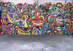 Shaka and Nosbé - Palaiseau, France #graffiti #street art. I love the colors