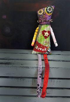 Zombie Art Doll, Halloween Doll, Monster doll, Freak, Original Design, Textile Mixed Media Art Doll, Hand Printed Fabric, Creepy Cute, cloth by WickedlyCreative on Etsy https://www.etsy.com/listing/550820109/zombie-art-doll-halloween-doll-monster