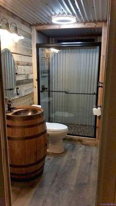 barndominium ideas floor plans Barndominium Floor Plans, Pole Barn House Plans and Metal Barn Homes Cabin Bathrooms, Tiny House Bathroom, Barn Bathroom, Small Bathroom, Small Rustic Bathrooms, Garage Bathroom, Man Cave Bathroom, Basement Bathroom Ideas, Master Bathroom