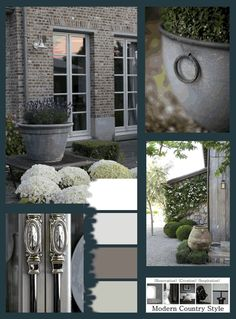Clockwise from top: this aged brick house is set off beautifully by dusky grey paint on the doors and frames, allowing the drainpipe and rendered base to fade into the overall scheme...white hydrangeas and lavender, contrasted against smart clipped box, keep this home looking firmly Modern Country....for full details click through to Modern Country Style blog: The Best Front Door Paint Colours: Dusky Purples
