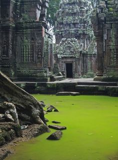 Jungle Castle - Ta Prohm, a temple at Angkor, Siem Reap Province, Cambodia, built in the Bayon style largely in the late 12th and early 13th centuries and originally called Rajavihara. UNESCO even inscribed Ta Prohm on the World Heritage List in 1992.