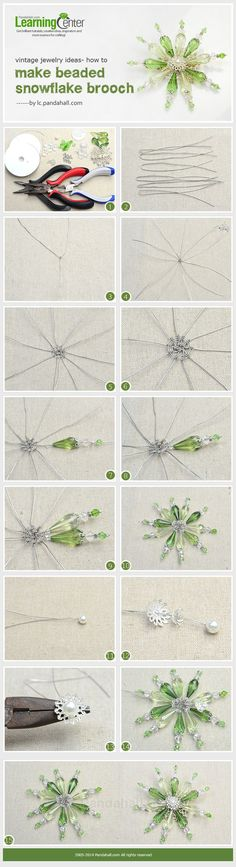 Vintage Jewelry Ideas- How to Make Beaded Snowflake Brooch #Wire #Jewelry #Tutorials