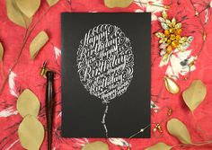 Next time someone's birthday creeps up on you, look no farther than this tutorial to create a stunning calligraphy birthday card! Calligraphy Birthday Card, Happy Birthday Typography, Calligraphy Practice, Modern Calligraphy, Calligraphy Handwriting, Lilies Drawing, Postman's Knock, Dark Ink, Holiday Gift Tags