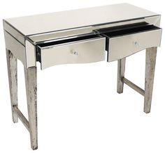 Delicate #mirrored #console in #antique #silver color. www.inart.com