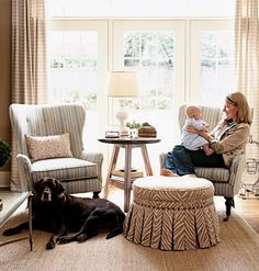 I want this ottoman and chairs! A pair of blue and taupe striped chairs from Cottage Living 9/2007. Curtains, too!