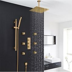 Bathroom Ideas Discover FontanaShowers Verona Solid Brass Ceiling Mounted Bathroom Volume Control Complete Shower System with Rough-in Valve Bad Inspiration, Bathroom Inspiration, Bathroom Ideas, Bathroom Vanities, Bathroom Designs, Modern Shower, Modern Bathroom, Masculine Bathroom, Industrial Bathroom