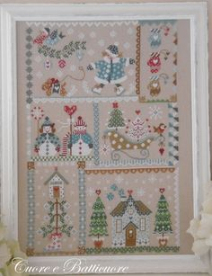 PDF Winter in Quilt counted cross stitch patterns by Cuore e Xmas Cross Stitch, Cross Stitch Samplers, Counted Cross Stitch Patterns, Cross Stitch Charts, Cross Stitch Designs, Cross Stitching, Hardanger Embroidery, Vintage Embroidery, Cross Stitch Embroidery