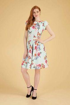 Světle mentolové šaty s barevnými růžemi Lady V London Goldie Lady V, Style Inspiration, London, Summer Dresses, Retro, Vintage, Fashion, Moda, Summer Sundresses