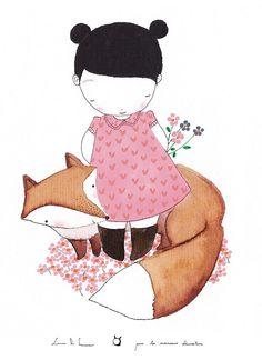 Kids poster : The fox kids wall art kids art door lesmoineauxdeco