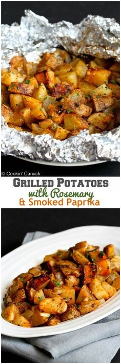 Grilled Potatoes with Rosemary and Smoked Paprika...The ultimate summertime side dish! 99 calories and 3 Weight Watchers PP | http://cookincanuck.com #vegan