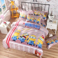Minion bed sheets set queen, king, Twin size Super soft Material . 100% Cotton 5pcs comforter set made using Reactive Printing Technology & Free Shipping .