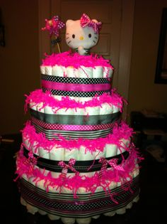 Hello Kitty Diaper Cake Made For A Friendu0027s Shower!