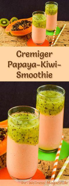 Papaya-Kiwi-Smoothie selber machen - ein gesundes Smoothie-Rezept zum Abnehmen für Frühstücks-Smoothies oder sättigende Diät-Mahlzeiten ...